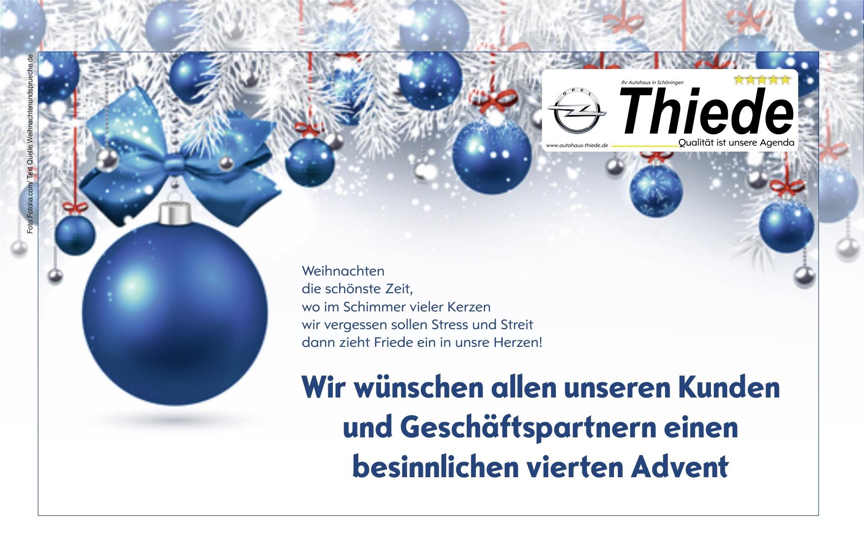 Vierte Advent im Autohaus Thiede besinnliche Angebote nutzen!