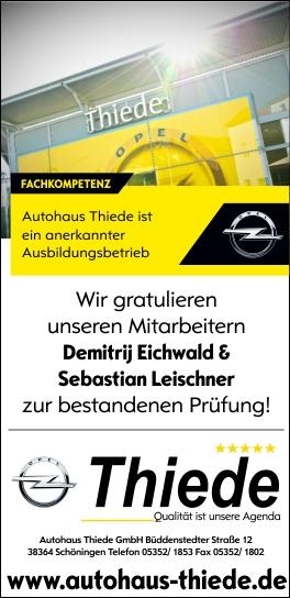 Autohaus Thiede anerkannter Ausbildungsbetrieb