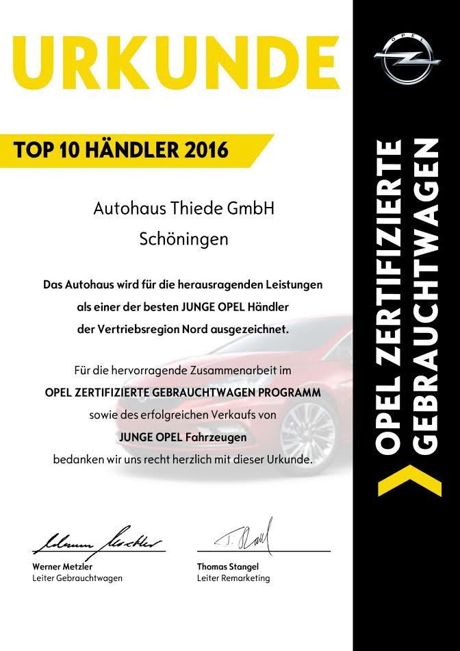 OPEL Top 1o Haendler Region Nord - Autohaus Thiede