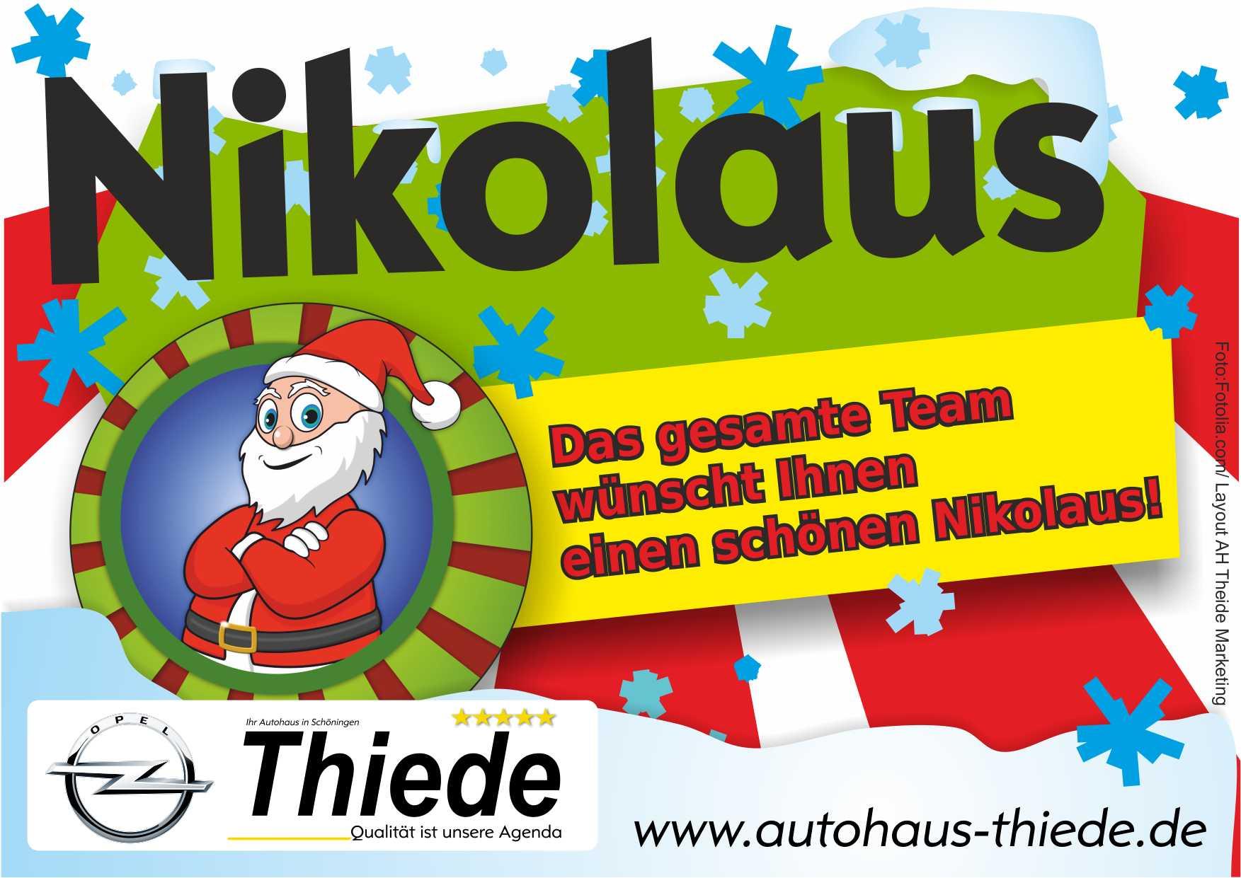 Autohaus Thiede wünscht einen schönen Nikolaus und lädt zur Opel Neuwagen Probefahrt ein