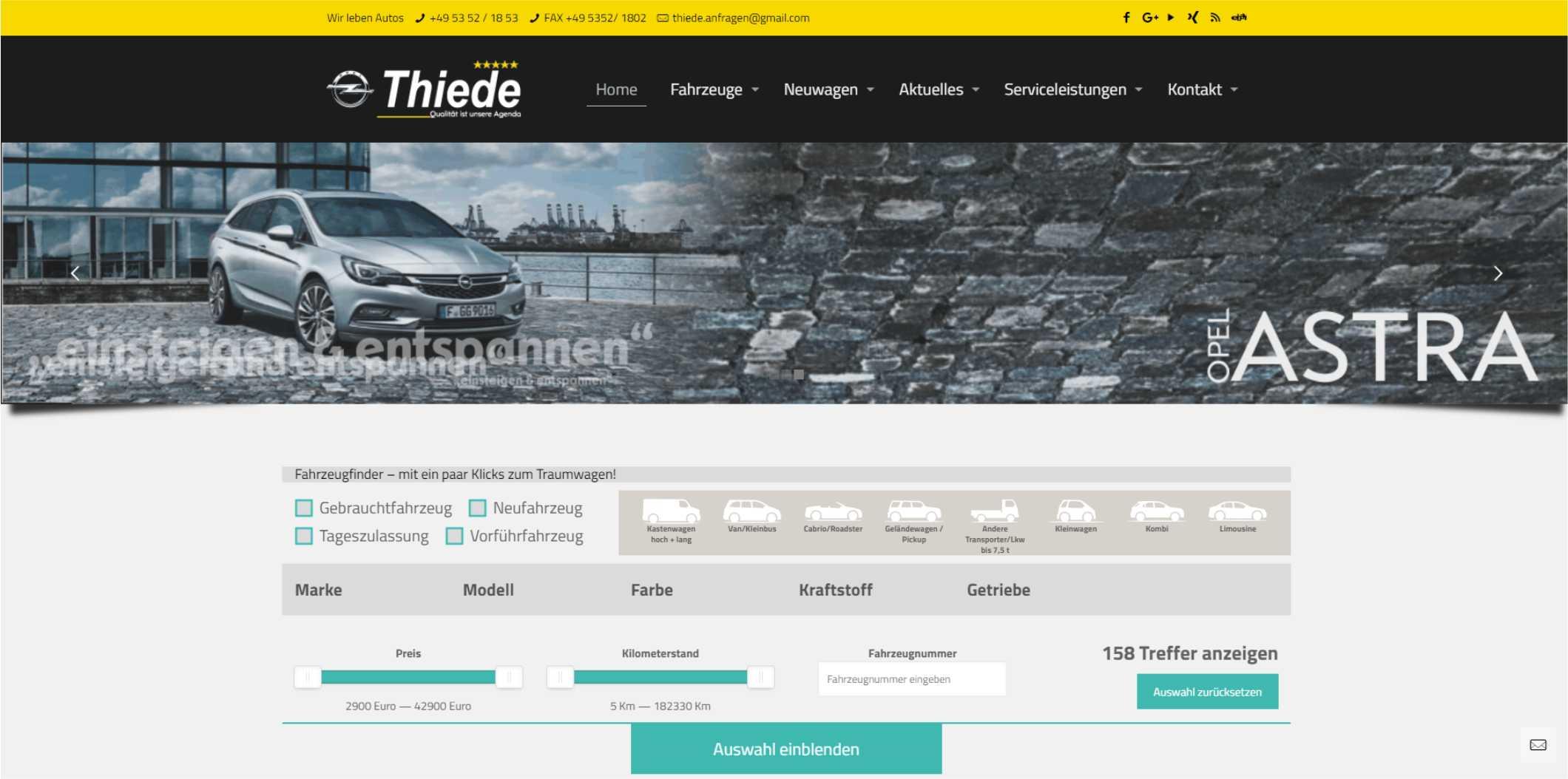 Suchfilter Neu-und Gebrauchtwagensuche Autohaus Thiede 05352/1853
