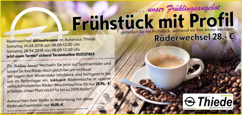 Frühstück mit Profil Räderwechsel mit Einlagerung im Autohaus Thiede