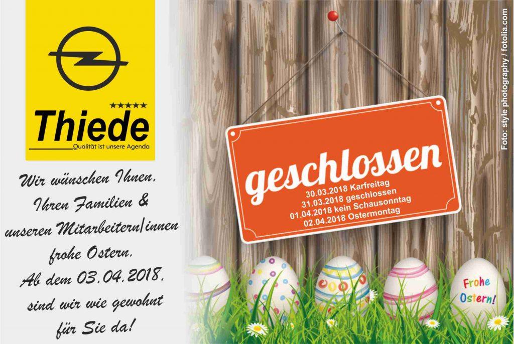 Öffnungszeiten zu Ostern im Autohaus Thiede